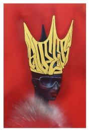 QUEENS $275.00 Giclee Print of original art. Spray paint, acrylic and 24 carat gold leaf, on canvas. Limited Edition of 20. Image Area: 22in x 33in. Finished Paper size: 24in x 36in. Printed on Acid Free, 310lb Bright Texture Watercolor paper using archival inks. Signed, numbered and dated. Mailed in non-archival tube.