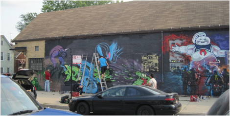 Figure 4. Ghostbusters graffiti mural by AIR crew 27th and Kedzie, Chicago. Photograph by Caitlin Bruce September 2012.