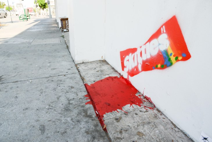 Los Angeles. CA. USA . 07/19/2013. Los Angeles has been the scene of violent protest since the acquittal of George Zimmerman followoing the killing of Florida teen Trayvon Martin. On Friday Trayvon Martin inspired street art appeared in the fashionable Me