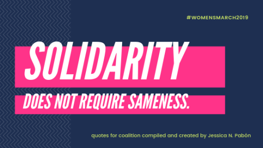 navy blue background white ketters pink background: solidarity does not require sameness